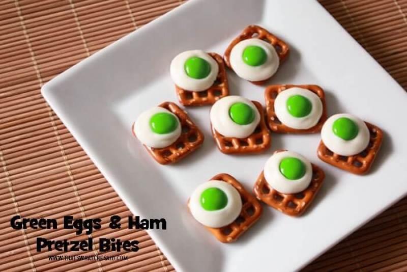 Dr. Suess' Birthday Green Eggs and Ham Pretzel Bites