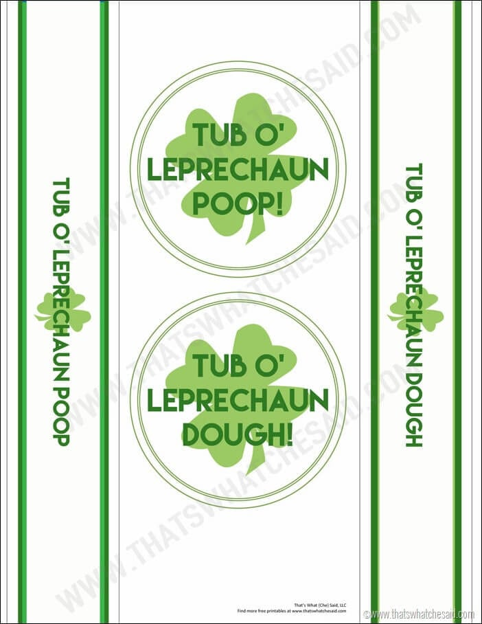 Leprechaun Dough Free Printable