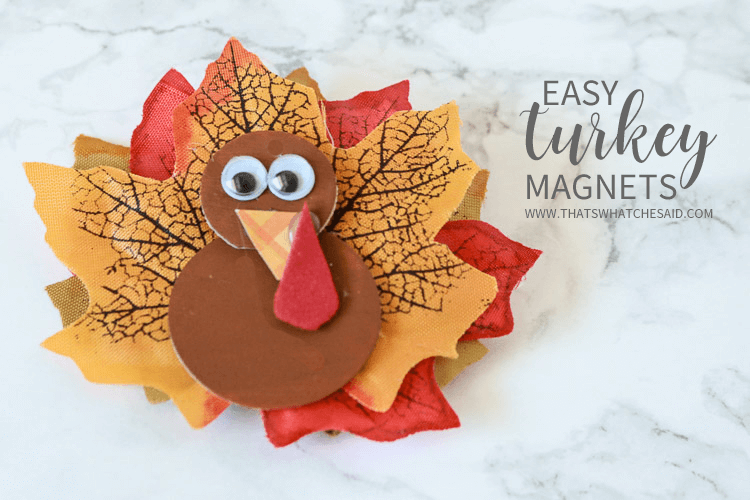 Turkey magnet made from faux leaves and small wooden craft discs and paint