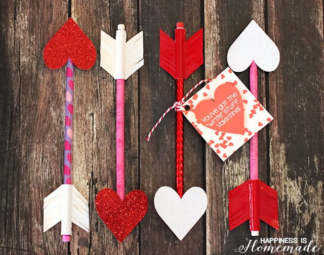 Pencils with heart points and duck tape arrow feathers