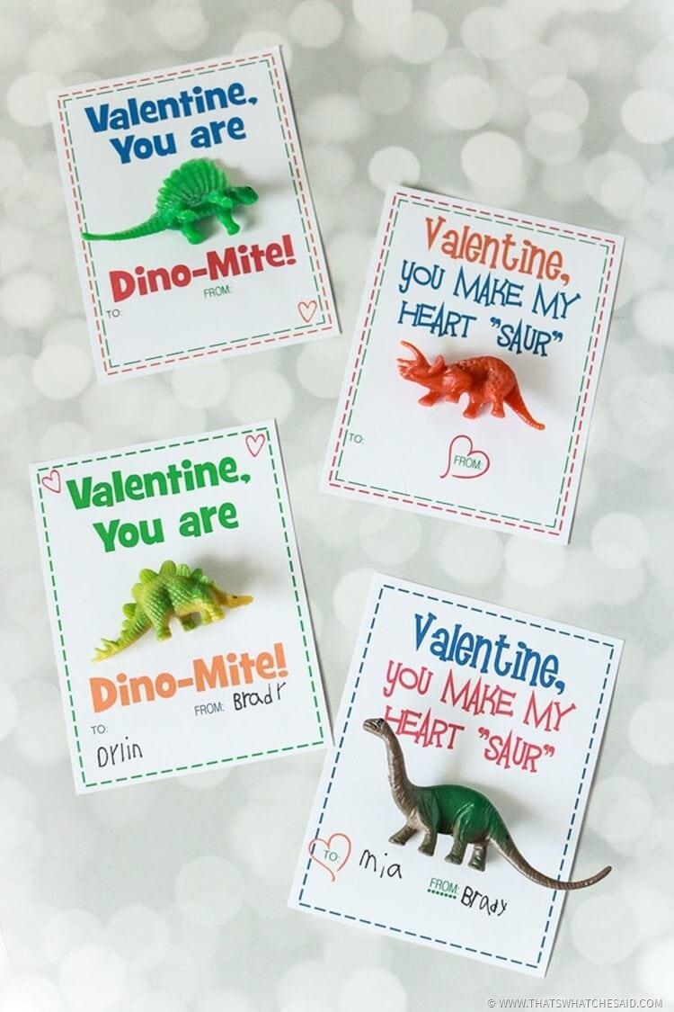 dinosaur valentines card  non candy valentine  that's