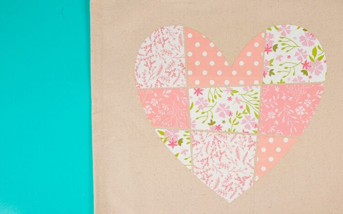 Garden flag with patchwork heart in patterned iron on
