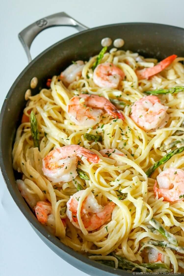 Shrimp Pasta in White Wine Sauce