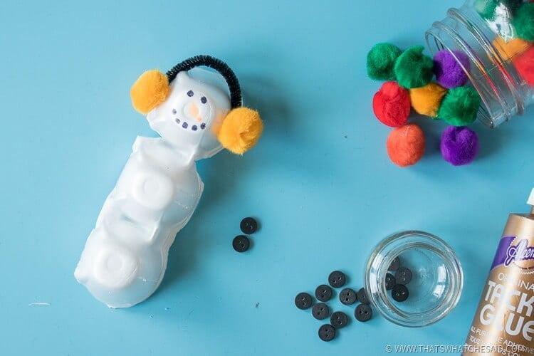 Snowman Egg Carton Craft