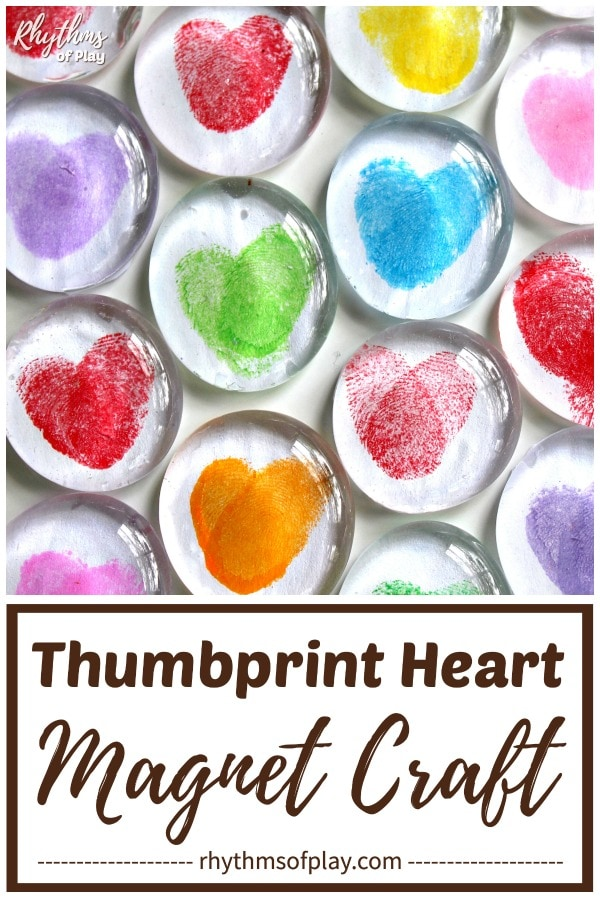Clear gem magnets with finger prints in the shape of a heart