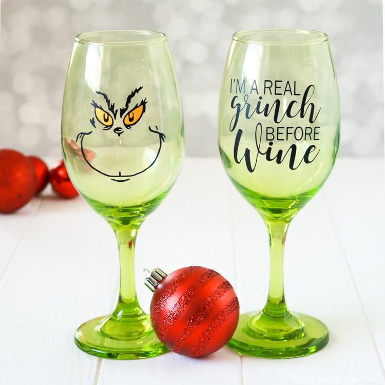 Free SVG File for Grinch Wine Glasses
