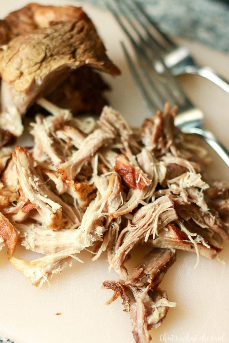 Easily shred instant pot pulled pork with forks!