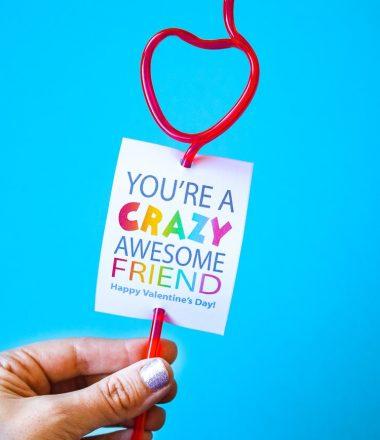 Crazy Straw Valentine Card Printable