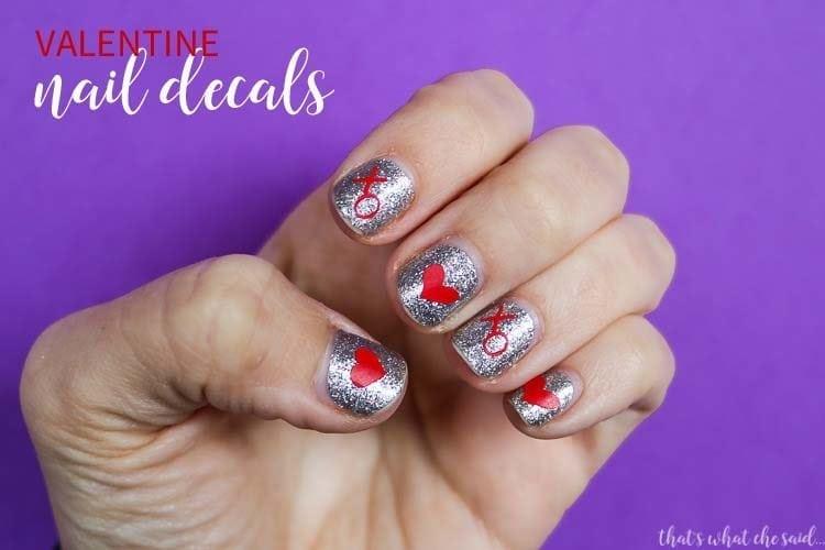 DIY Valentine Nail Decals + Cut Files