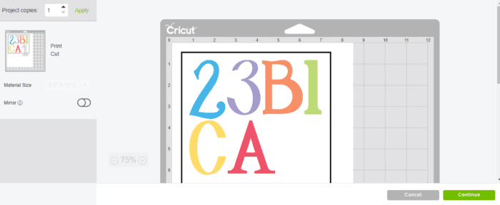 Mat screen for cricut print then cut. this screen displays how your design will be printed