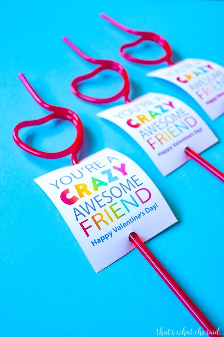 Non Candy Valentine Card - Crazy Straw Valentine