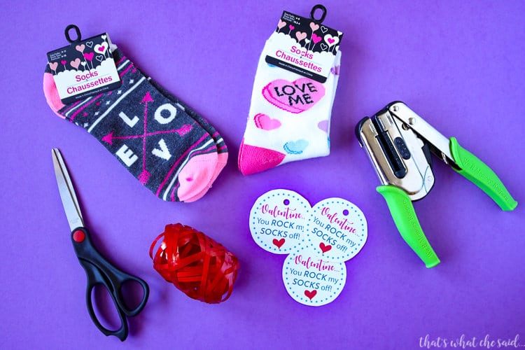Easy Craft Supplies needed for Rock My socks off printable valentine Idea