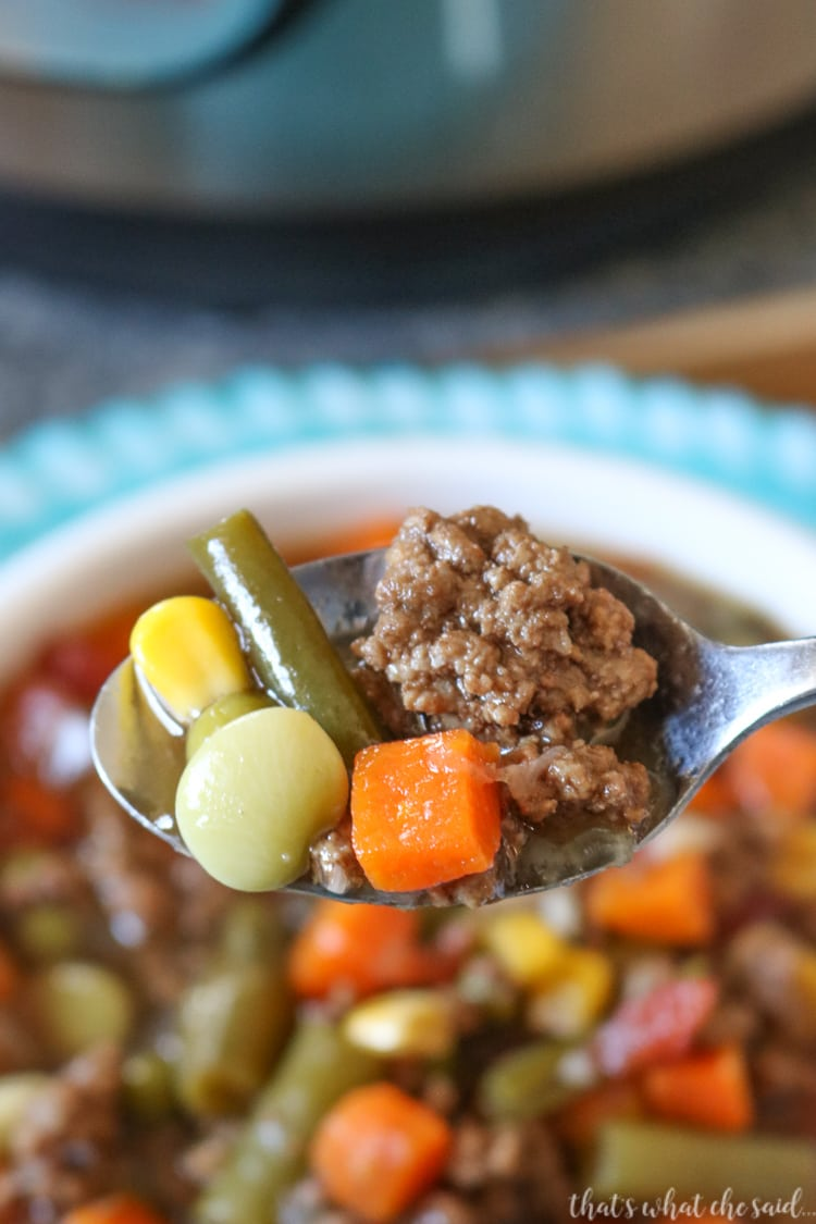 Hearty Veggie Beef Soup made in the Instant Pot