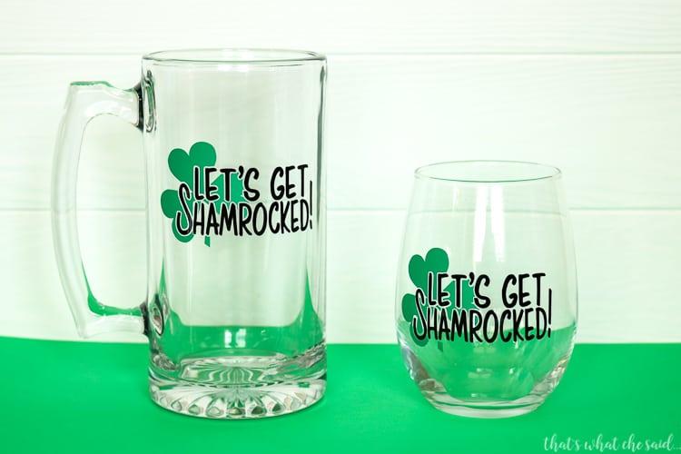Let's Get Shamrocked SVG File for Mugs, Wine Glasses, Shirts and more