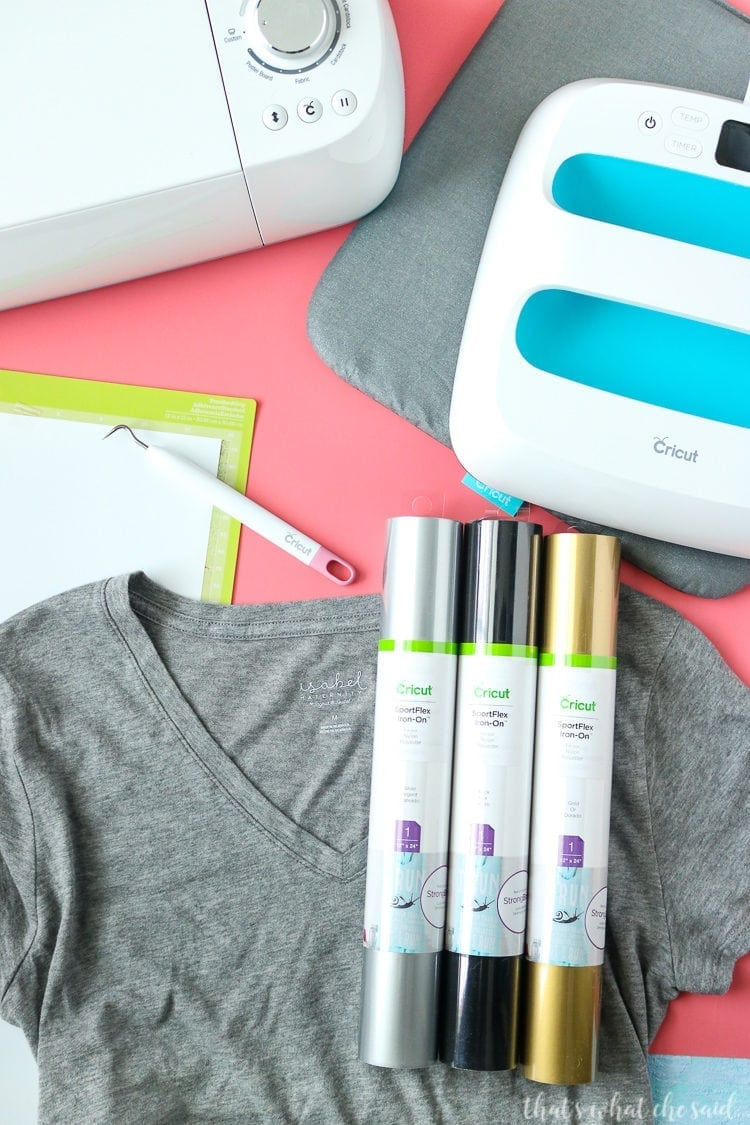 Supplies Needed for using Cricut SportFlex Iron On. T-shirt, Sportflex Iron on rolls, Cricut Machine and EasyPress