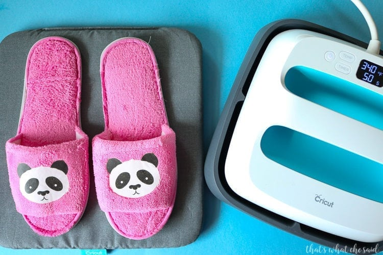 Slippers adorned with Panda Iron on Designs