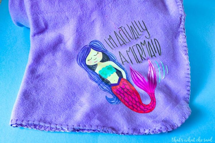 Purple Blanket with Mermaid Iron On Design