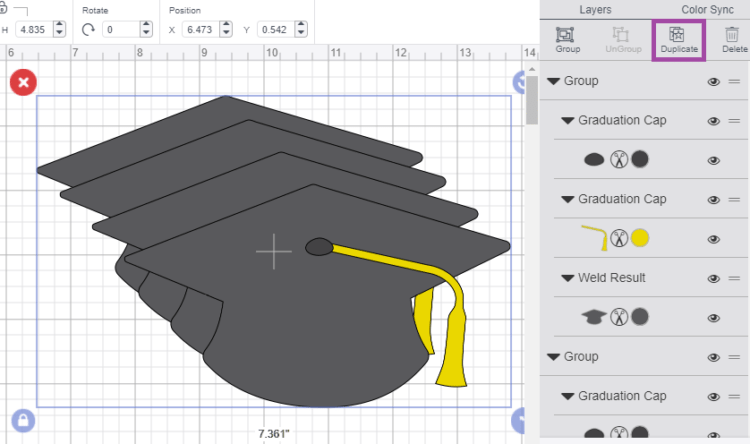 Click the Duplicate button in the top of the Layers Panel to duplicate your design