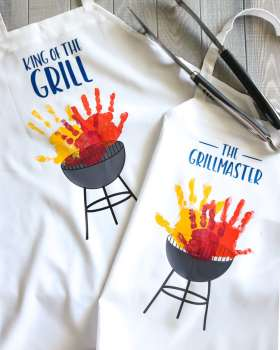 DIY Aprons with Grills and children's handprint as grill flames