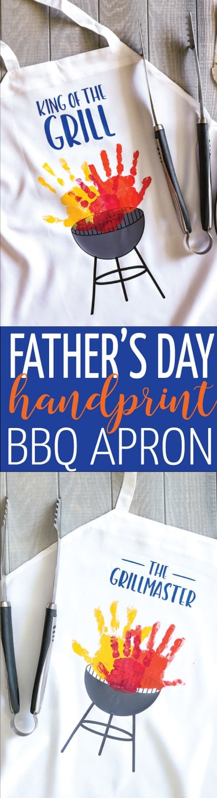 Create the cutest handmade Father's Day Gift with this handprint BBQ Apron! SVG files to help you out!