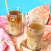 Iced Coffee in glasses with paper straws