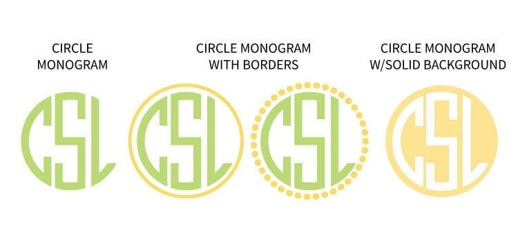 4 examples of circle monogram fonts