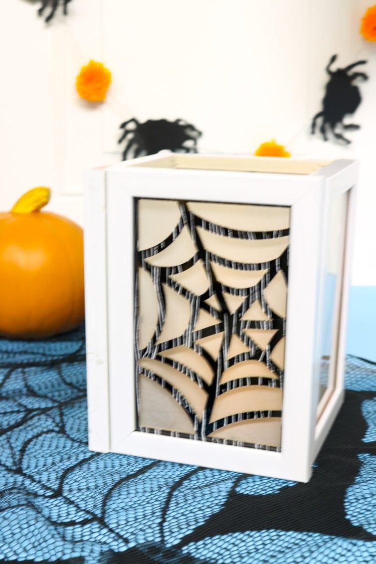 Halloween Seasonal DIY Luminary with Spiderweb insert