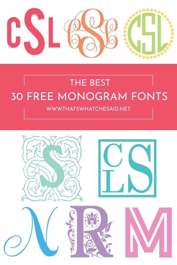Download the BEST 30 FREE Monogram fonts and get your monogram on! Find out how to download and how to design your own monograms!
