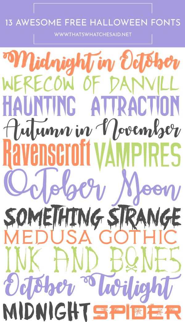 13 Awesomely Free Halloween Fonts! Download these and use them for your personal Halloween arts and crafts projects! Perfect for invites, banners and more!