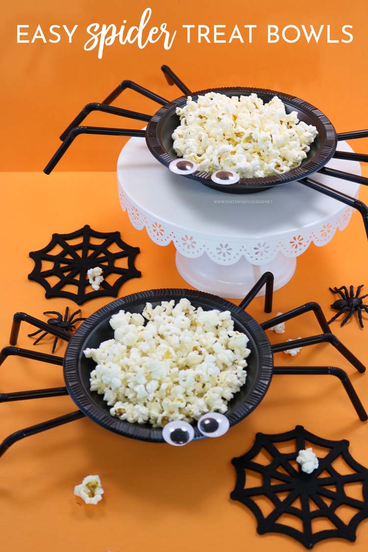 Spider treat bowls filled with popcorn. A quick and easy Halloween Craft