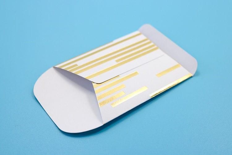 Cardstock envelope partially assembled