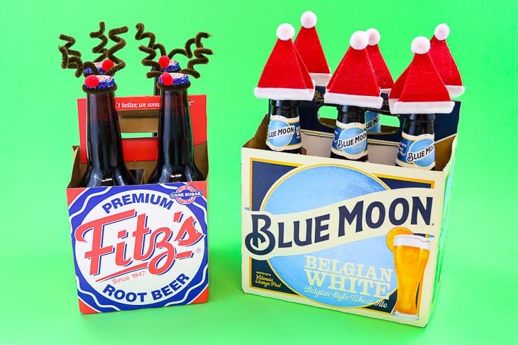 4 pack of RootBeer dressed as Reindeer and a 6 pack of beer Dressed like Santa!