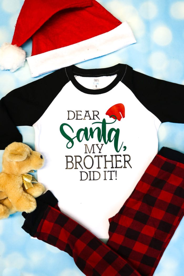 White and Black Raglan Tee with Dear Santa My Brother Did It Design