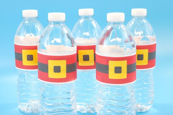Plastic water bottles with Printed Santa Belt Wrappers