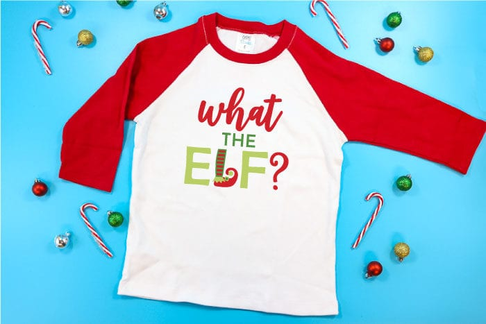 Red and white Raglan T-Shirt with funny Elf Christmas Design