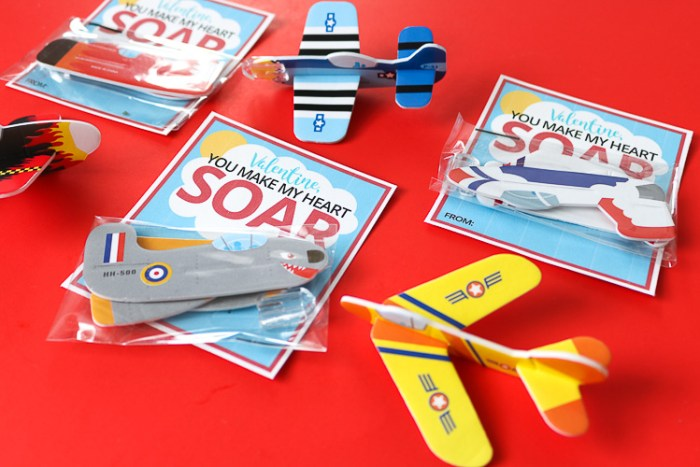 Airplane Valentine Cards with some assembled toy foam airplanes