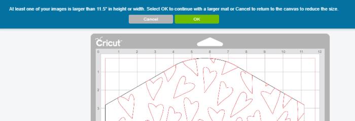 Cricut Design Space Screenshot of Warning to increase mat size