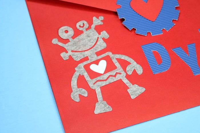 Robot Character on a DIY Valentine Envelope