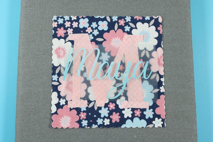 Fabric Stacker, Fabric Initial with Iron on Name