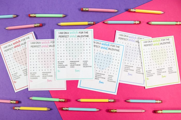 Printable Word Search Valentines with small half pencils