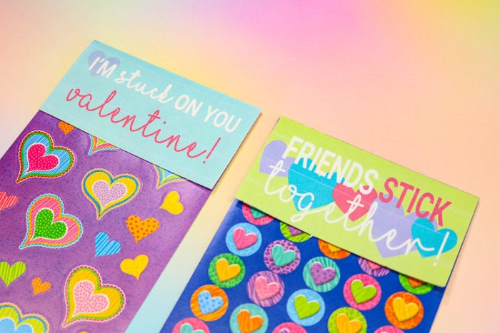 Close up Sticker Sheets with Free Printable Paper toppers to make them Valentine Cards