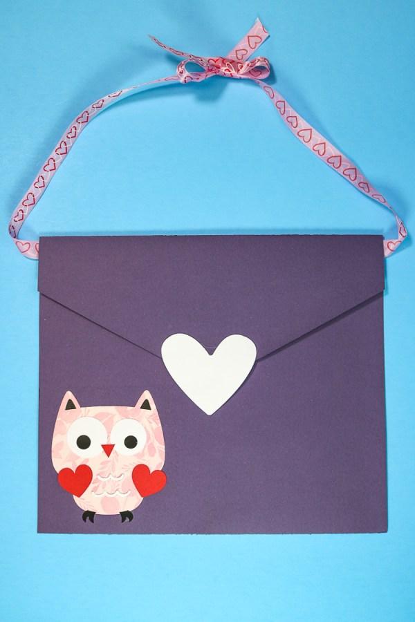 Purple Envelope Valentine Box with Owl decoration