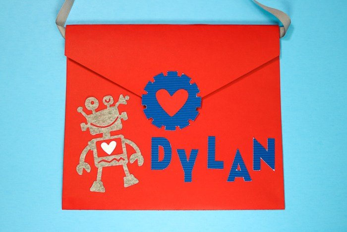 Red Valentine Envelope with Robot on it Perfect for class parties