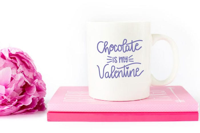 White Coffee Mug with Purple Valentine Hand Lettered SVG Design