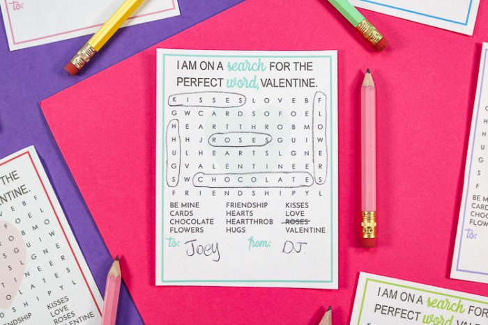 Free Printable Word Search Valentine that has been worked on