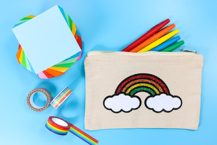 Pencil Pouch with Layered Glitter Rainbow Design