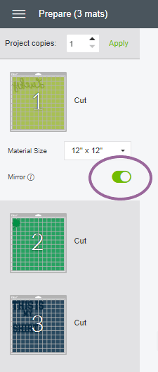Screenshot of where to turn on the Mirror in Cricut Design Space