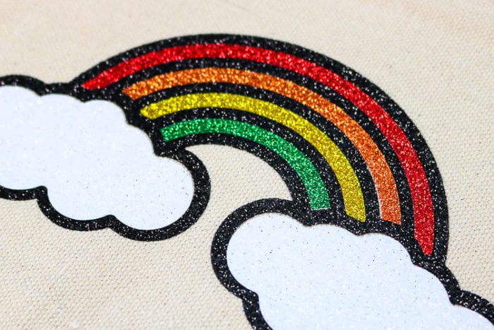 Layered Glitter Iron on Rainbow Close up