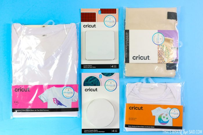 Cricut offered Infusible Ink blanks: T-shirts, Tote Bags, Coasters and Baby Bodysuits