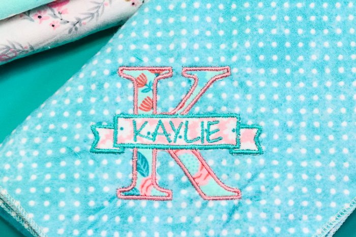 Embroidered Applique Letter with Name